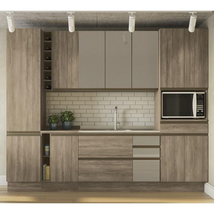 Cozinha Completa Modulada 10 Peças Maxxi 11 Nogal Kappesberg