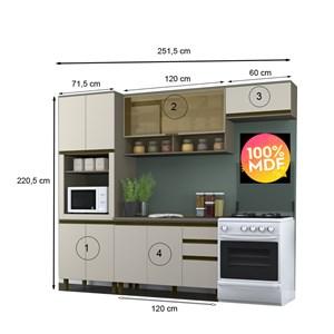 Cozinha Completa Modulada 100% MDF 04 Peças Connect 11 Duna Cristal Henn