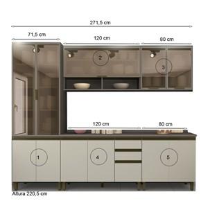 Cozinha Completa Modulada 100% MDF 05 Peças Connect 8 Duna Cristal Henn