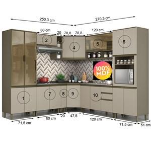 Cozinha Completa Modulada 100% MDF 10 Peças Connect 14 Duna Cristal Henn