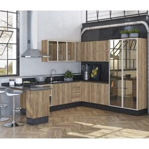 Cozinha Completa Modulada 11 Peças 100% MDF Kali Premium Carvalho Rustico Nicioli