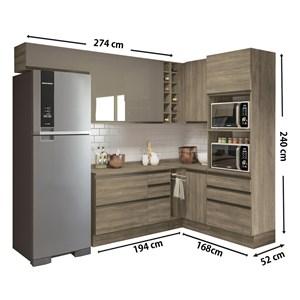 Cozinha Completa Modulada 11 Peças Maxxi 02 Nogal Kappesberg