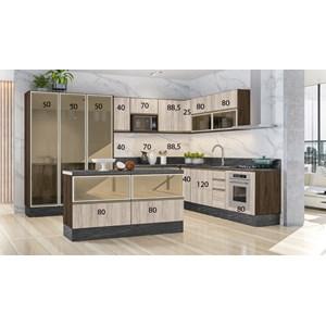 Cozinha Completa Modulada 18 Peças 100% MDF Kali Premium Amendoa Arezzo Rust Nicioli