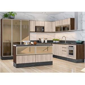 Cozinha Completa Modulada 18 Peças II 100% MDF Kali Premium Amendoa Arezzo Rust Nicioli
