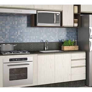 Cozinha Completa Modulada Audácia Amêndoa Arezzo Tok em MDF 11 Módulos Nicioli
