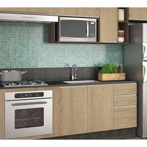 Cozinha Completa Modulada Audácia Amêndoa Carvalho Gris Tok em MDF 11 Módulos Nicioli