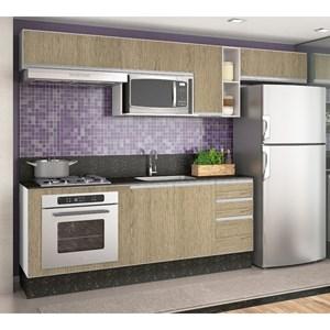 Cozinha Completa Modulada Audácia Branco Carvalho Gris Tok em MDF 8 Módulos Nicioli