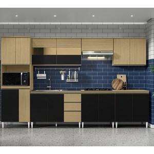 Cozinha Completa Modulada Kelly 04 Atacama Preto ARM Milani Store