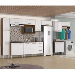 Cozinha E Lavanderia Modulada 11 Peças Milena 2716 Marrom Branco Milani Movelaria