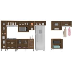 Cozinha E Lavanderia Modulada 11 Peças Milena 2716 Marrom Milani Movelaria