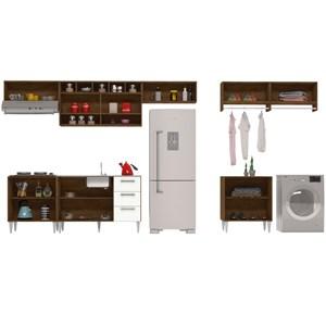 Cozinha E Lavanderia Modulada 8 Peças Milena 2717 Marrom Branco Milani Movelaria