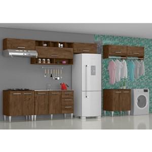 Cozinha E Lavanderia Modulada 8 Peças Milena 2717 Marrom Milani Movelaria