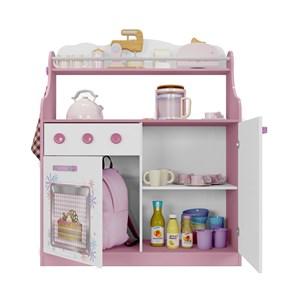 Cozinha Infantil Porta Brinquedos Kitchen Branco Rosa Moveis Estrela