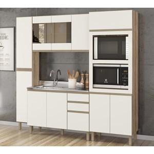 Cozinha Modulada 04 Peças 100% MDF Kali Premium Carvalho Off White Nicioli