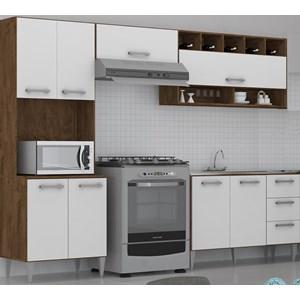 Cozinha Modulada 04 Peças Milena 2724 Marrom Branco Milani Movelaria
