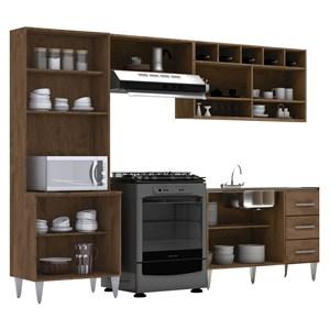 Cozinha Modulada 04 Peças Milena 2724 Marrom Milani Movelaria