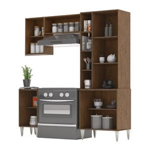Cozinha Modulada 04 Peças Milena 2730 Marrom Branco Milani Movelaria