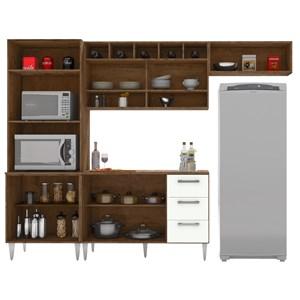 Cozinha Modulada 04 Peças Milena 2738 Marrom Branco Milani Movelaria