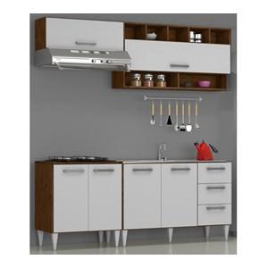 Cozinha Modulada 04 Peças Milena 2741 Marrom Branco Milani Movelaria