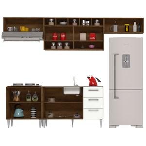 Cozinha Modulada 05 Peças Milena 2725 Marrom Branco Milani Movelaria