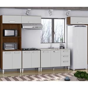 Cozinha Modulada 05 Peças Milena 2733 Marrom Branco Milani Movelaria