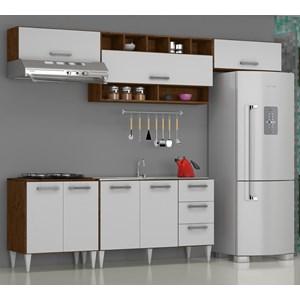 Cozinha Modulada 05 Peças Milena 2735 Marrom Branco Milani Movelaria