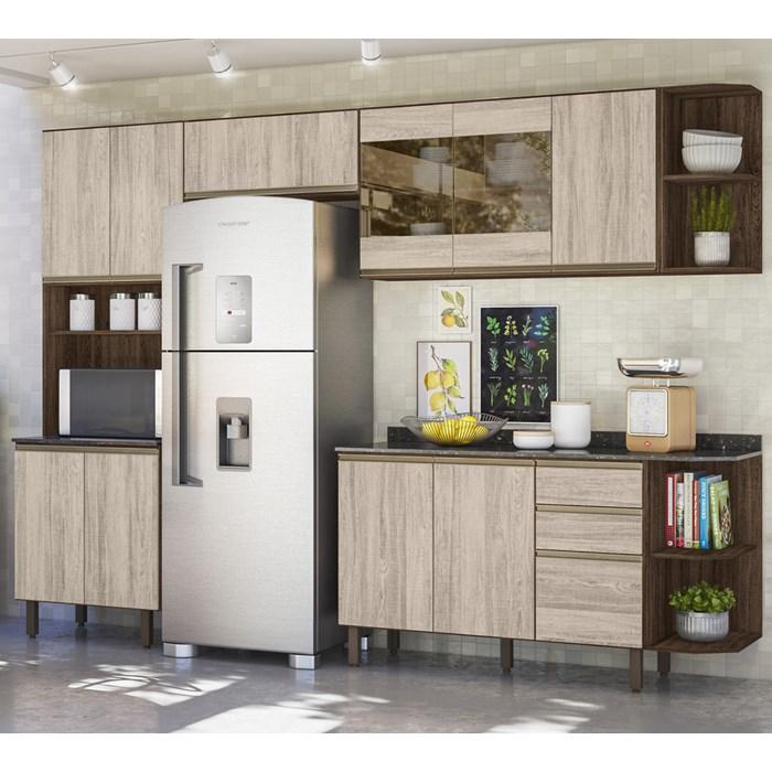 Cozinha Modulada 06 Peças 100% MDF Kali Premium Amendoa Arezzo Nicioli