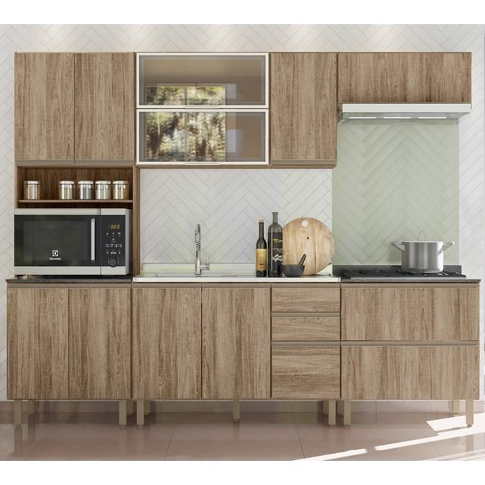 Cozinha Modulada 06 Peças III 100% MDF Kali Premium Carvalho Rustico Nicioli
