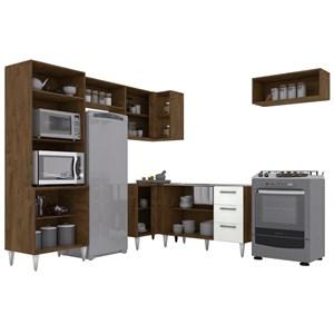 Cozinha Modulada 06 Peças Milena 2702 Marrom Branco Milani Movelaria