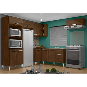 Cozinha Modulada 06 Peças Milena 2702 Marrom Milani Movelaria