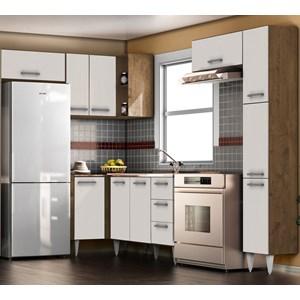 Cozinha Modulada 06 Peças Milena 2728 Marrom Branco Milani Movelaria