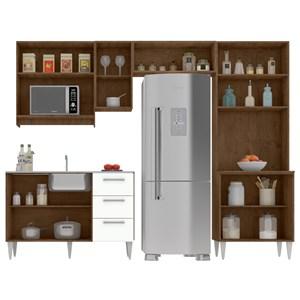 Cozinha Modulada 06 Peças Milena 2729 Marrom Branco Milani Movelaria