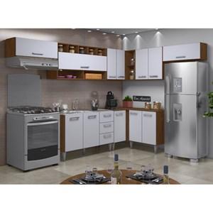 Cozinha Modulada 08 Peças Milena 2701 Marrom Branco Milani Movelaria
