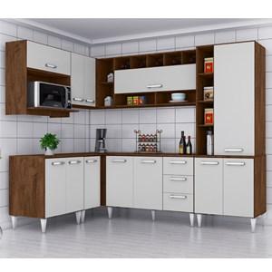 Cozinha Modulada 08 Peças Milena 2703 Marrom Branco Milani Movelaria
