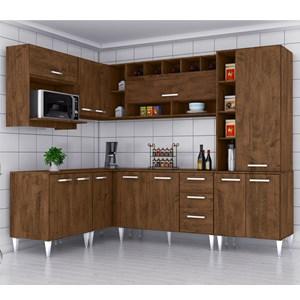 Cozinha Modulada 08 Peças Milena 2703 Marrom Milani Movelaria