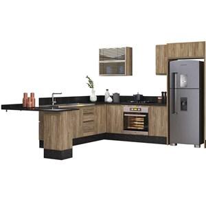 Cozinha Modulada 10 Peças 100% MDF Kali Premium Carvalho Rustico Nicioli