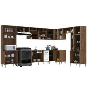 Cozinha Modulada 10 Peças Milena 2704 Marrom Branco Milani Movelaria