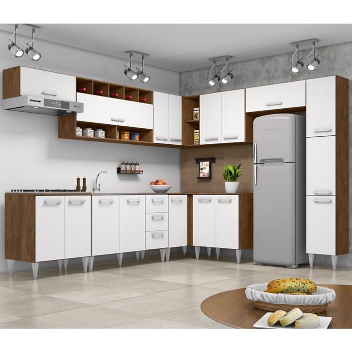 Cozinha Modulada 10 Peças Milena 2712 Marrom Branco Milani Movelaria