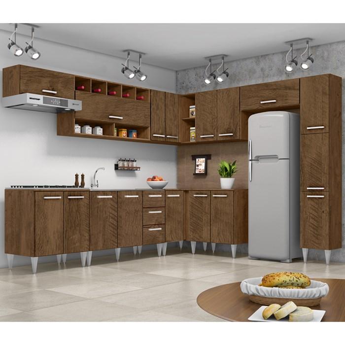 Cozinha Modulada 10 Peças Milena 2712 Marrom Milani Movelaria