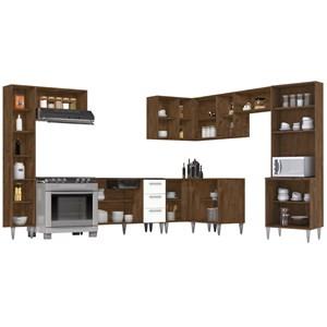 Cozinha Modulada 11 Peças Milena 2705 Marrom Branco Milani Movelaria
