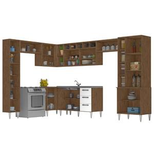 Cozinha Modulada 11 Peças Milena 2709 Marrom Branco Milani Movelaria