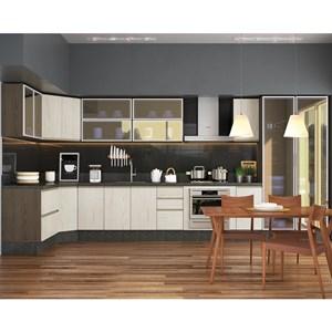 Cozinha Modulada 13 Peças 100% MDF Kali Premium Amendoa Arezzo Rust Nicioli