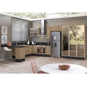 Cozinha Modulada 13 Peças 100% MDF Kali Premium Carvalho Rustico Nicioli
