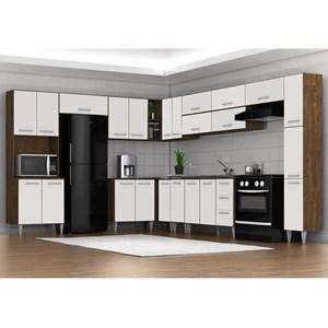 Cozinha Modulada 14 Peças Milena 2707 Marrom Branco Milani Movelaria