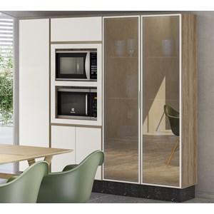 Cozinha Modulada 4 Peças 100% MDF Kali Premium Carvalho Off White Nicioli