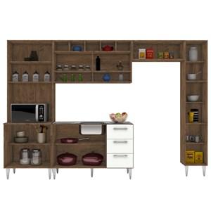 Cozinha Modulada 5 Peças Milena 2719 Marrom Branco Milani Movelaria