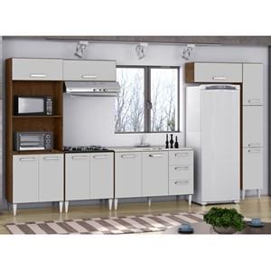 Cozinha Modulada 6 Peças Milena 2715 Marrom Branco Milani Movelaria
