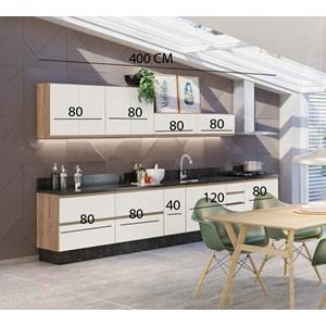 Cozinha Modulada 9 Peças 100% MDF Kali Premium Carvalho Off White Nicioli