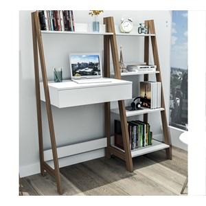 Escrivaninha Com Estante Urban EST4001 Branco Castanho APT Milani Store