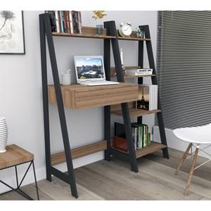 Escrivaninha Com Estante Urban EST4001 Castanho Preto APT Milani Store